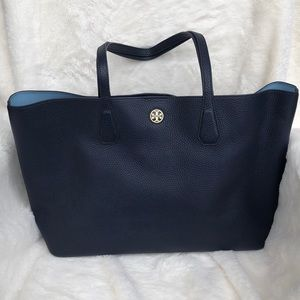 Tory Burch Leather Navy Blue Tote